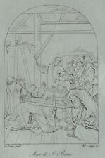 Mort de Saint Bruno d'après Eustache le Sueur Gravure 19ème siècle