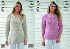 King Cole Ladies Cardigan & Top Bamboo Cotton Knitting Pattern 3693  DK (...