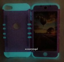 For iPod Touch 5th & 6th Gen - Pink Glitter GLOW IN THE DARK Hybrid Armor Case