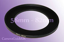 58mm to 82mm Male-Female Stepping Step Up Filter Ring Adapter 58mm-82mm UK
