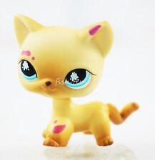 Hasbro 816 Littlest Pet Shop Yellow Messiest Cream & Tan Short Hair Cat Blue Eye