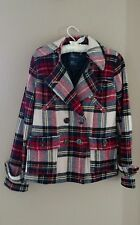 American Eagle Outfitters Plaid Pea Coat, women's petite size small
