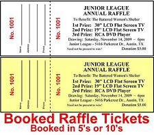 300 RAFFLE TICKETS~DRAWING-Numbered-Stapled & BOOKED Custom Printed Fundraiser