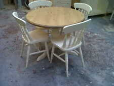 solid pine round pedastal dining table & 4 chairs/farrow & ball/made to measure