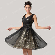 Pop Black A-Line Short Chiffon Sequins Formal Homecoming Gown Prom Evening Dress