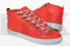 $635 Balenciaga Arena Red Grey High-Top Mens EU 45 US 12 Shoes Sneakers