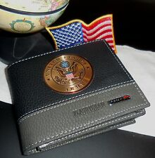US Army Medallion,  Two Tone Leather Wallet, USA Seller