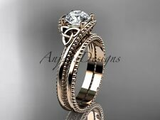 14kt rose gold celtic trinity knot wedding ring, engagement set CT7322S