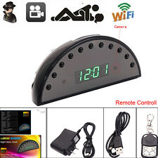 HD 1080P Wifi SPY Hidden Cam Clock Night Vision Motion Detection Remote Control