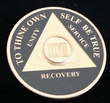 Premium Black Bi Plate Alcoholics Anonymous 38 Year Medallion Coin Token Chip