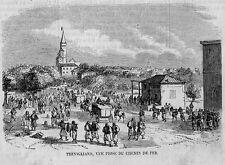 Stampa antica TREVIGLIO veduta dalla ferrovia Bergamo 1859 Old print