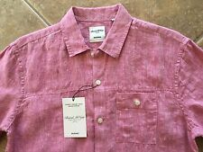 Murano Linen Shirt Mens L Regular Fit Red Short Sleeves & Front Pocket NWT $69