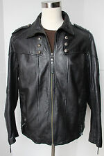 Mens Affliction Studded Leather Jacket Limited Edition XL Black