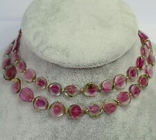 "Watermelon Tourmaline Slice Bead Necklace 18K Solid Gold 24"" Length"