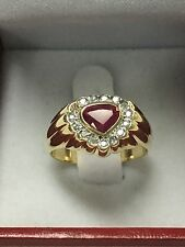 14k Gold Ring With A Heart Shaped Ruby And Diamonds