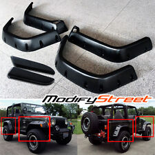 "FOR 97-06 JEEP WRANGLER TJ 6"" BLACK POCKET RIVET STYLE FENDER FLARES PROTECTOR"