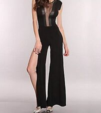 Sexy Catsuit with Faux Latex Panels See Through Chiffon Top Slits to thighs