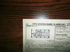 1972 Lincoln, Mark IV & Mercury 224 HP 460 V8 4BBL SUN Tune Up Chart Great Shape
