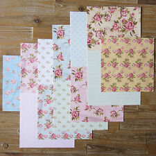 "12 Hojas 8 X 8 ""Papel Scrapbooking Shabby Chic Vintage Rosa Lunares - 120gsm"