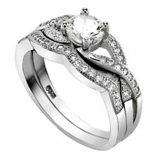 .925 Sterling Silver Wedding Ring set size 8 Engagement CZ Round Bridal New wz38