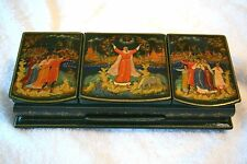 1993 PALEKH VILLAGE RUSSIAN LACQUER BOX, GREEN IN COLOR WITH 3 HINGED LIDS