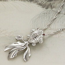 Women's Fashion Charm Jewelry Goldfish Pendant Long Chain Nobby Necklace