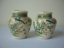 Vintage pair of Chinese enameled earthenware ginger jars
