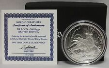 Nidhoggr Dragon Nordic Creatures 1 Oz .999 Silver Proof Round / Medallion  JV583