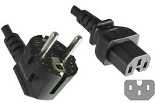 Power Mains Plug SCHUKO Right Angel Fused to IEC C15 Hot Rated Female Cable 2.5m