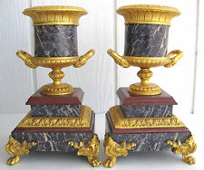 French Empire Gold Gilt Urn Garniture Mantel Claw Feet Acanthus Molding No Clock