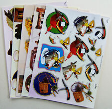 5 A4 Sheets TBZ 3D Embossed Decoupage Mens/Boys Designs 2