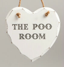 Heart Plaque Wood 'The Poo Room' Wall Plaque Hanging Door Sign Shabby Chic BNWT