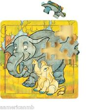 "ELEPHANTS 20 pc Jigsaw Wood Puzzle 8""x8"" Educational Toy Wooden Woodcrafted Game"