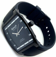 Omax Men's Dress Watch Rectangular Black Bezel Silicone Strap Analog Quartz