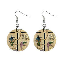 """New Egypt Osiris Book of the Dead 1"""" Button Earrings Free Shipping"""