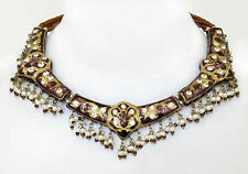 Burgundy Peacock Lakh Necklace. Jewelry in the Style of Mughal India