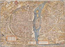 HUGE VINTAGE historic PARIS FRANCE 1550 OLD STYLE MAP