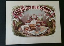 Print Currier and Ives God Bless Our School Home Schooling Education Lithograph