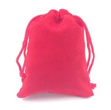 JEWELRY DRAWSTRING VELVET POUCH - GIFT BAG - RED 9cm X 7cm