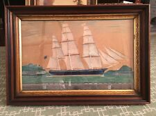 Antique American C 1819 Marine Folk Art Watercolor 3 Masted Ship American Flag