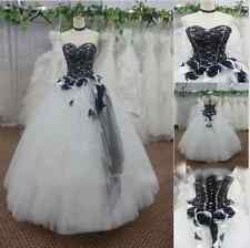 Black white/Ivory Vintage Lace Wedding Dress Bridal Gown Plus Size Custom2-28