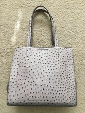 NWOT Banana Republic Gray Ostrich Adria Italian Leather & Suede Tote Handbag