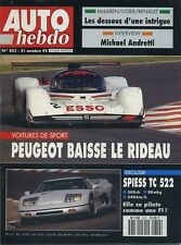 AUTO HEBDO n°852 du 21 Octobre 1992 SPIESS TC 522 SAN REMO