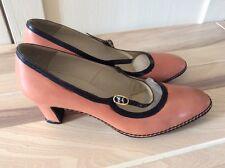 michel faret paris vintage mary jane style shoes pink & navy.  size 5?