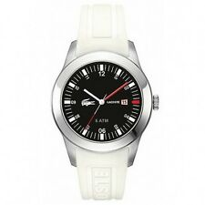 New Lacoste Advantage White Silicone Black Dial Date Men Watch 43mm 2010629 $175