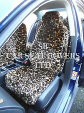 TO FIT A TOYOTA STARLET CAR, SEAT COVERS, GOLD LEOPARD FAUX FUR 2 FRONTS