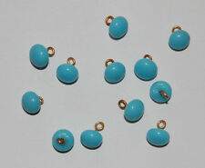 VINTAGE 12 TURQUOISE BLUE GLASS BUTTON BUTTONS 7mm JAPAN