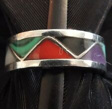 ESTATE STERLING SILVER CORAL ONYX MALACHITE MOP TURQUOISE SUGILITE RING 4.75