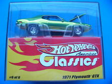 HOTWHEELS 1/43rd SCALE Lt. GREEN CLASSICS 1971 PLYMOUTH GTX PLY WITH REAL RIDERS