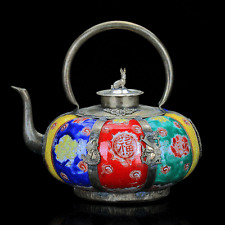 Chinese Famille rose porcelain Painted Armor Tibet Silver Dragon Teapot